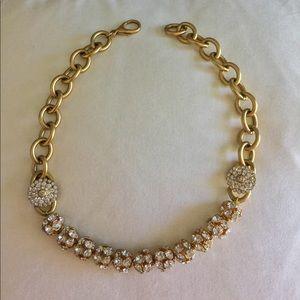 M&J Savitt Gold-Crystal Statement Necklace